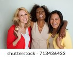 women talking and laughing. | Shutterstock . vector #713436433