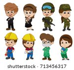 kid of different professions....   Shutterstock .eps vector #713456317