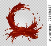 transparent chocolate splash... | Shutterstock .eps vector #713456887