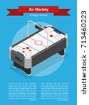 table air hockey game banner...   Shutterstock .eps vector #713460223