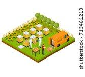 beekeeping apiary farm... | Shutterstock .eps vector #713461213