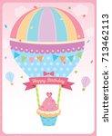 cute cupcake with balloon...   Shutterstock .eps vector #713462113