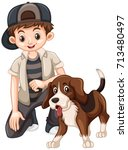 boy and beagle dog illustration | Shutterstock .eps vector #713480497