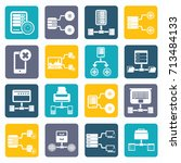 database server icon set vector | Shutterstock .eps vector #713484133