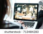 woman hand typing labtop... | Shutterstock . vector #713484283