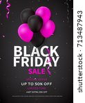 flyer template for black friday ... | Shutterstock .eps vector #713487943