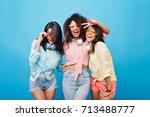 cute international female... | Shutterstock . vector #713488777