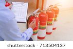engineer inspection fire... | Shutterstock . vector #713504137