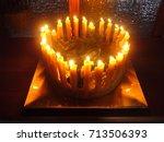 handmade advent wreath with 24... | Shutterstock . vector #713506393