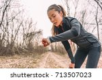 sport watch run woman checking... | Shutterstock . vector #713507023