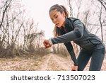 sport watch run woman checking... | Shutterstock . vector #713507023