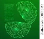 wireframe mesh hemisphere shell.... | Shutterstock .eps vector #713515117