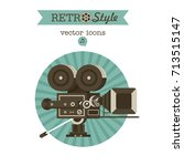 vintage film camera. vector... | Shutterstock .eps vector #713515147