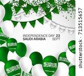 festive banner with national... | Shutterstock .eps vector #713515657