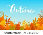colorful autumn fall leaves... | Shutterstock .eps vector #713519317