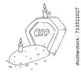 gravestone with the inscription ... | Shutterstock .eps vector #713521027