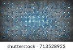 flashing circle light bulbs.... | Shutterstock . vector #713528923