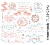 wedding retro vector elements... | Shutterstock .eps vector #713542393