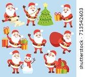 cartoon cute santa claus... | Shutterstock .eps vector #713542603