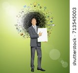 vector idea concept with... | Shutterstock .eps vector #713545003