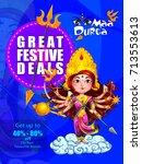 happy durga puja india holiday... | Shutterstock .eps vector #713553613