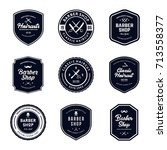 vintage barber shop badges... | Shutterstock .eps vector #713558377