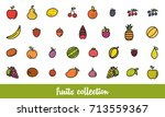 fruits collection. healthy... | Shutterstock .eps vector #713559367