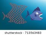 big fish escape small fish... | Shutterstock .eps vector #713563483