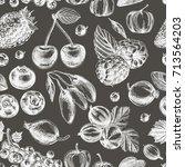 vector hand drawn berries... | Shutterstock .eps vector #713564203