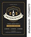 oktoberfest beer festival... | Shutterstock .eps vector #713568373