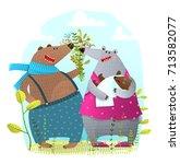 bear family with newborn baby... | Shutterstock .eps vector #713582077