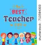 best teacher ever colorful... | Shutterstock .eps vector #713584303