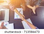 business partnership marketing... | Shutterstock . vector #713586673