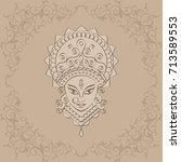durga goddess of power vector... | Shutterstock .eps vector #713589553