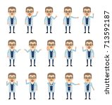 set of professor characters... | Shutterstock .eps vector #713592187