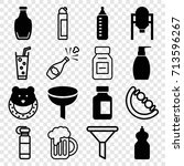 bottle icons set. set of 16... | Shutterstock .eps vector #713596267