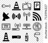 Signal Icons Set. Set Of 16...