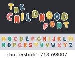 cartoon funny font. vector...   Shutterstock .eps vector #713598007