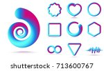 abstract 3d shapes set isolated ... | Shutterstock .eps vector #713600767