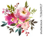 Stock photo pink peach watercolor floral frame peonies roses leaves isolated on white background 713624917