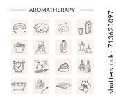 set with aromatherapy elements. ... | Shutterstock .eps vector #713625097