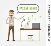 business man with fly money... | Shutterstock .eps vector #713635123