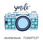 smile slogan handwriting and... | Shutterstock .eps vector #713637127