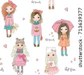 Cartoon Seamless Pattern With...
