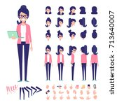 Front, side, back view animated character. Geek girl character creation set with various views, hairstyles,  poses and gestures. Cartoon style, flat vector illustration | Shutterstock vector #713640007