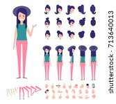front  side  back view animated ... | Shutterstock .eps vector #713640013