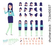 front  side  back view animated ... | Shutterstock .eps vector #713640037