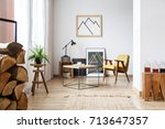 modern designed interior of... | Shutterstock . vector #713647357