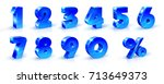Set of blue numbers 1, 2, 3, 4, 5, 6, 7, 8, 9, 0 and percent sign. 3d illustration. Suitable for use on advertising banners posters flyers promotional items, Seasonal discounts Black Friday etc. | Shutterstock vector #713649373