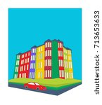 residential tenement buildings... | Shutterstock .eps vector #713653633